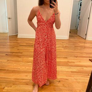 Charlie's - Red & White Floral Maxi Dress - S